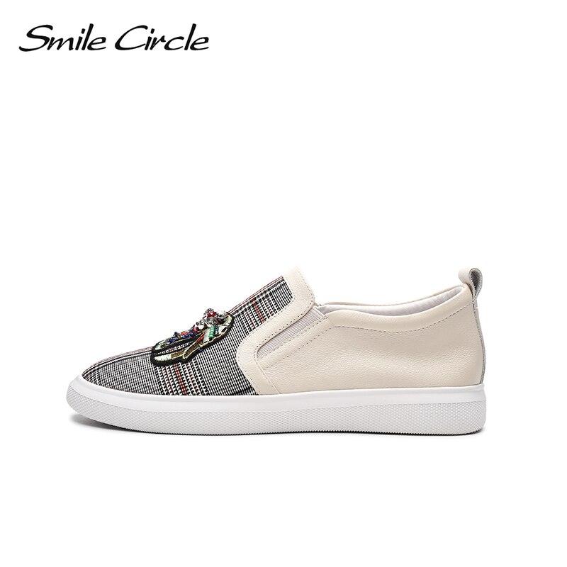 Ayakk.'ten Vulkanize Kadın Ayakkabıları'de Gülümseme Daire 2018 Bahar Hakiki deri sneakers Kadın Moda Taklidi Düz platform ayakkabılar Kız rahat ayakkabılar Loafer'lar'da  Grup 2