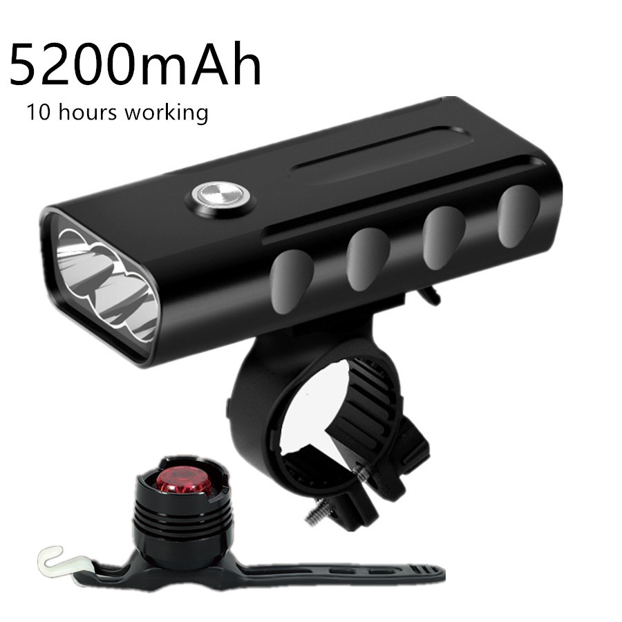 XM-L T6 LED Front Bike USB Rechargeable Built-In 5200mAh 3Modes Bicycle Light Waterproof Headlight Bike Accessories & Taillight waterproof usb rechargeable flashlight xm l t6 led bike front light 4 modes bicycle light for bycicle cycling accessories