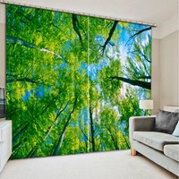 Green Forest 3D Window Curtains For Bedding Room Fashion 3d Curtains High Quality