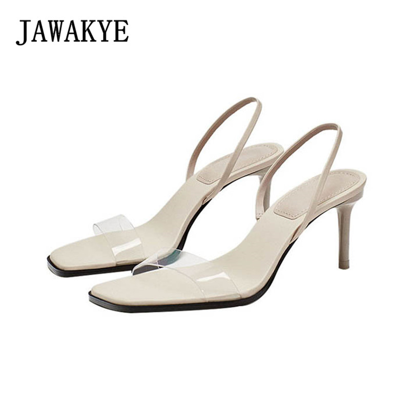 New Classic Beige Women Sandals PVC Clear High Heels Summer Transparent Shoes Back Strap Comfortable Sandalias Mujer 2018