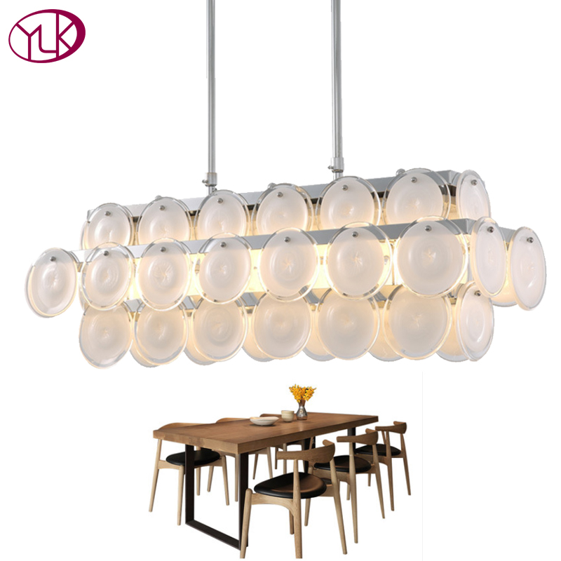 Contemporary Luxury Rectangular Linear Island Dining Room: Youlaike Luxury Modern Glass Chandelier Lighting For