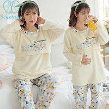 b8a28643634 834# Winter Flannel Maternity Nursing Nightwear Coral Velvet Thicken Warm  Soft Clothes for Pregnant Women Pregnancy Pajamas Sets