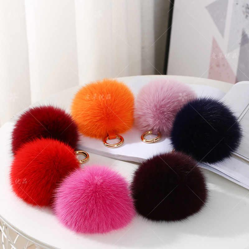 Multicolor Moda Raposa Bola de Pêlo de Raposa Anel Chave Chaveiro Bola De Veludo Saco Bonito Fofo Fox Acessórios Pingente de Bola