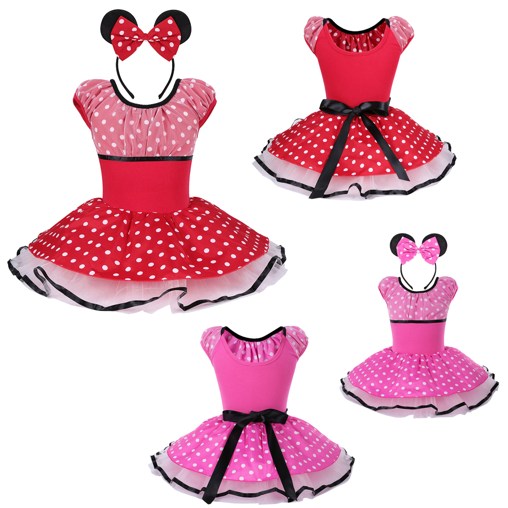 Minnie Mouse Mickey Cosplay Red Polka Dots Short Sleeve Ballet Tutu Dress for 2~8Y Girls Ballet Gymnastic Leotard Dress Clothes xmas leopard minnie dots red pettiskirt with christmas minnie print white long sleeve top with minnie dots lacing mamw413