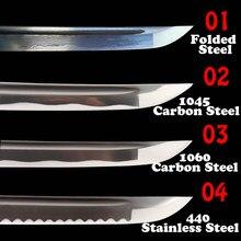 Hoja de espada práctica de acero forjado plegable, acero de alto carbono para Katana de Samurai japonés, Wakizashi, Tanto, nitidez Tang completa