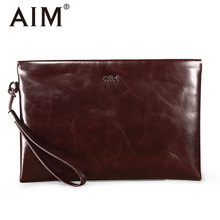 AIM font b Men s b font Brand Soft Genuine Leather Clutch Bags Vintage Large Capacity