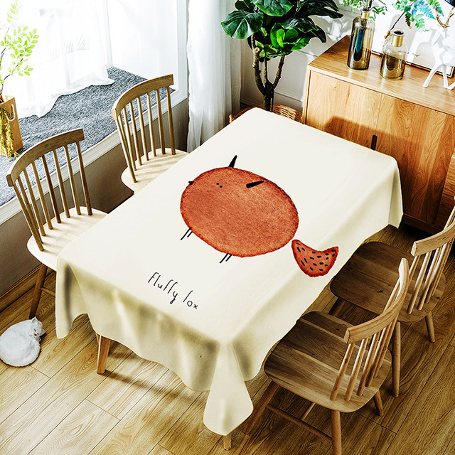Tablecloth Cartoon Animal Print Oilproof Heat Insulation Square Rectangular Dining Table Kitchen Home Decor Table Cover ZM189 image