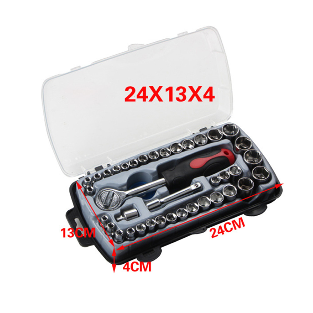 40pcs /set Key Torque Wrench Tool Ratchet Handle Socket Wrench Screwdriver Car Wrench Manual Combination Repair Tool