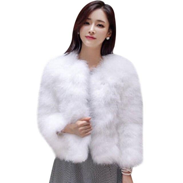 2ff883a258357 Winter Elegant Lady Luxury Shaggy Plush Coat Turkey Feather Faux Ostrich  Fur Jacket Women Fourrure Overcoat Female Plus Size