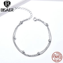 BISAER Chain Bracelet 925 Sterling Silver Little Beads Double Layers Chain Link