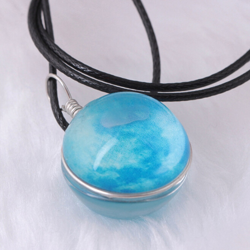Glowing In The Dark Galaxy Moon Pendant Necklace For Women Jewelry Luminous Necklace Vintage Silver Color Chain
