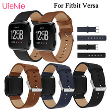 Luxury leather replacement wristband for Fitbit Versa smart watch strap bracelet accessories business band