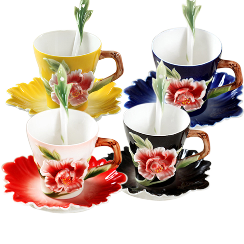 Flower Enamel Coffee Mug Porcelain Tea Cup Milk Set With Spoon and Dishes Creative Cups and Mugs Ceramic Drinkware Gift Present