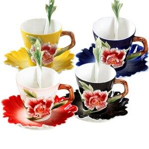 Flower Enamel Coffee Mug Porce