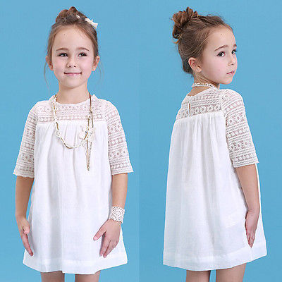 2016 New Kids Baby Girls White Chic Fairy  Lace Floral Party Solid Gown Fancy Dresses Baby Summer Casual Dress Clothes 2016 new kids baby girls white chic fairy lace floral party solid gown fancy dresses baby summer casual dress clothes