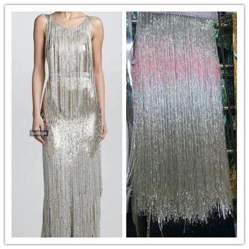 Fashion Beaded Fringe Tassel Lace Crystal Beads Strings Latin Dress Dance Wear Macrame Trimming Tassel Gold Silver 40 50CM