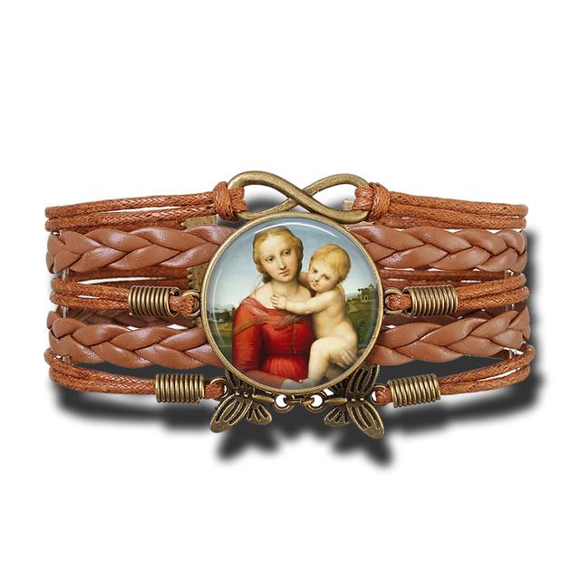 Pulsera de cuero para mujer hecha a mano de la Virgen María