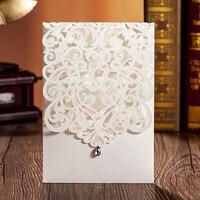 Free Printing 50pcs Elegant Vertical Ivory White Wedding Invitation With Rhinestone & Laser Cut Flower