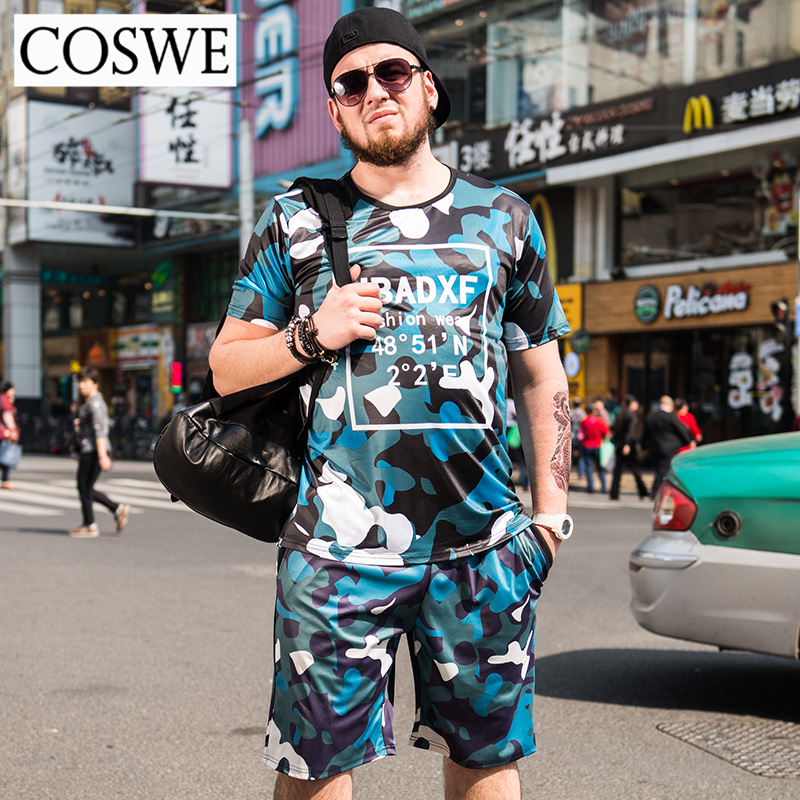COSWE 6XL Short Men T Shirts With Beach Shorts Fashion Camouflage Casual Suits Brand Man Suit