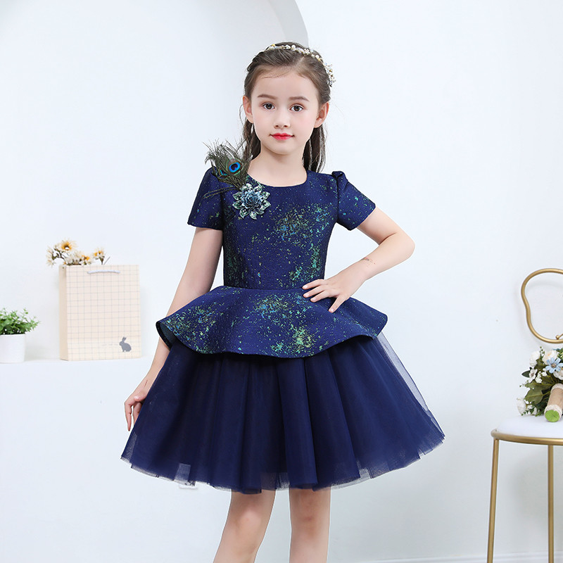 2018 Summer New Baby Kids Toddler Birthday Evening Party Fashion Princess Ball Gown Mesh Dress Children Tutu Piano Pageant Dress summer new high quality baby kids birthday wedding party princess lace short dress little girl toddler evening party tutu dress