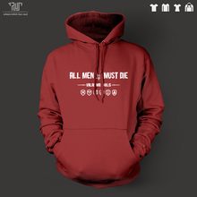 game of thrones all men must die men unisex pullover hoodie heavy hooded sweatershirt organic cotton fleece inside Free Shipping