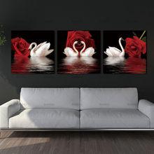 3 panneaux de peinture sur le mur, images modulaires, toile moderne, peintures à l'huile, images murales pour salon, impression HD de Rose de cygne