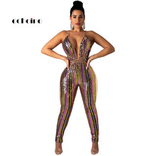 Echoine Jumpsuit Women Halter Sexy Striped Sequined Deep V Neck Lace Up Multicolor Long Pant Rompers Female Party Night Costume