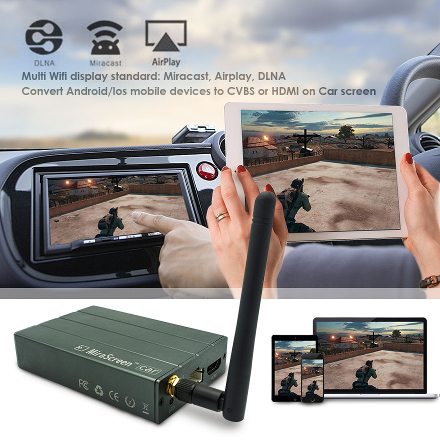 Car WiFi Display Dongle WiFi Mirror Box Miracast DLNA Airplay GPS Navigation Car for iOS Android Phone Pad TV Screen Mirroring vancago car wifi mirror box display android ios miracast dlna airplay transfer gps video audio games to car dvd player