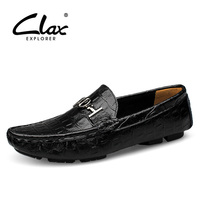 Clax Mens Moccasin with Crocodile Skin Printing 2017 Summer Autumn Casual Leather Loafers Male Alligator Shoe Boat Footwear