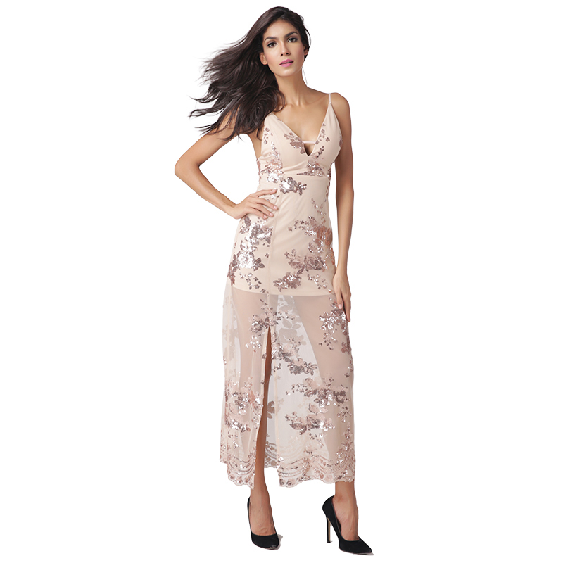 Buy Cheap Syoovaa Evening Party Elegant Sequin Dress Women Sexy V Neck Spaghetti Strap Dress Long Beach Summer Dresses Split Vestidos