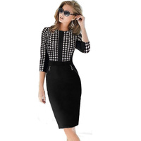 Women Dresses New Fashion Brand Elegant Midi V Neck Party Evening Pencil Dresses Size S M