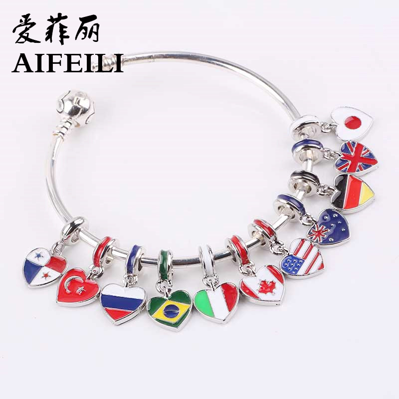 AIFEILI 2018 spring new 11 country choose national flag Hanging bead charms Fits European Pandora Charm Bracelets