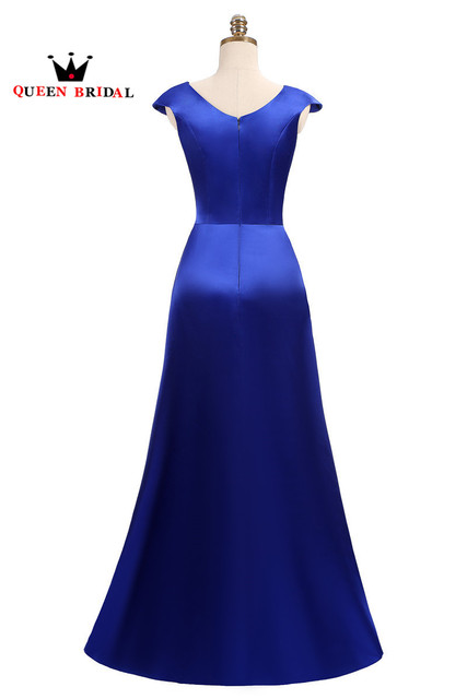 A-line Satin Royal Blue Long Foraml Evening Dresses Crystal Beaded 2018 Vestido De Festa Party Dress Gowns 100% Real Photos DR01