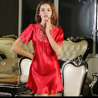 Silk Nightgown Women Sleepdress Ladies Nightie Lace Nightdress Chemises Slip Sleepwear Satin Nightwear Natural Silk Dress B 5379