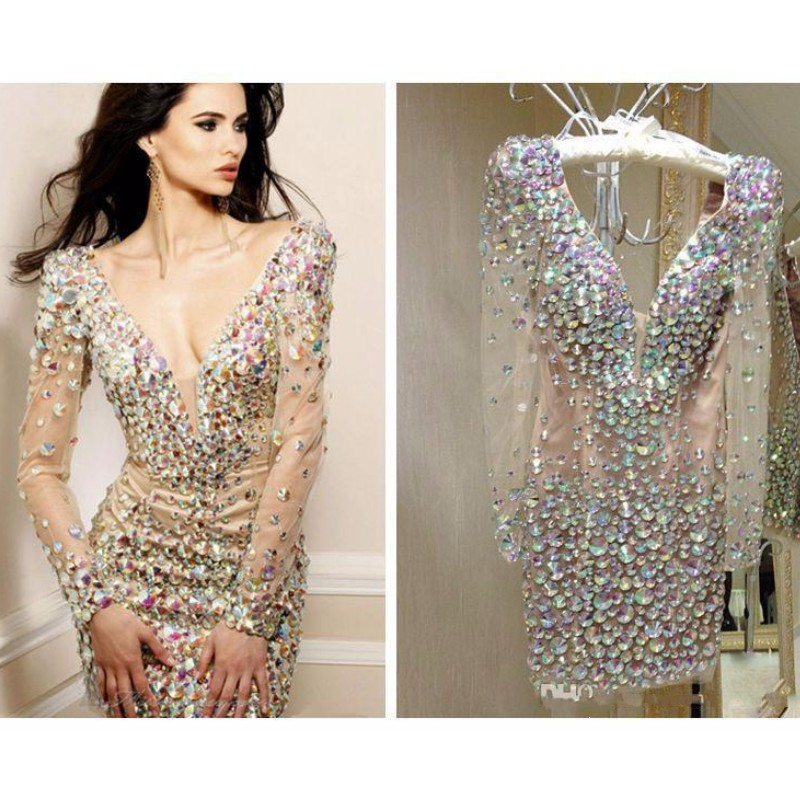 Bling Rhinestone Cocktail Dresses Party Gowns Sexy Deep V Neck Long Sleeve Short Prom Dress Special Occasion Dresses For Women