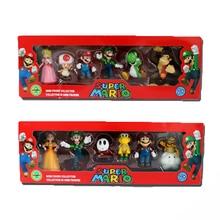 6Pcs/Set 3-7cm Super Mario Bros PVC Action Figure Toys Dolls Mario Luigi Yoshi Mushroom Donkey Kong In Gift Box Lovely Kids Gift super mario bros action figures set 6pcs