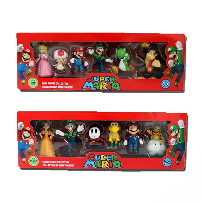 6Pcs/Set 3-7cm <font><b>Super</b></font> <font><b>Mario</b></font> Bros <font><b>PVC</b></font> <font><b>Action</b></font> Figure Toys Dolls <font><b>Mario</b></font> Luigi <font><b>Yoshi</b></font> Mushroom Donkey Kong In Gift Box <font><b>Lovely</b></font> Kids Gift