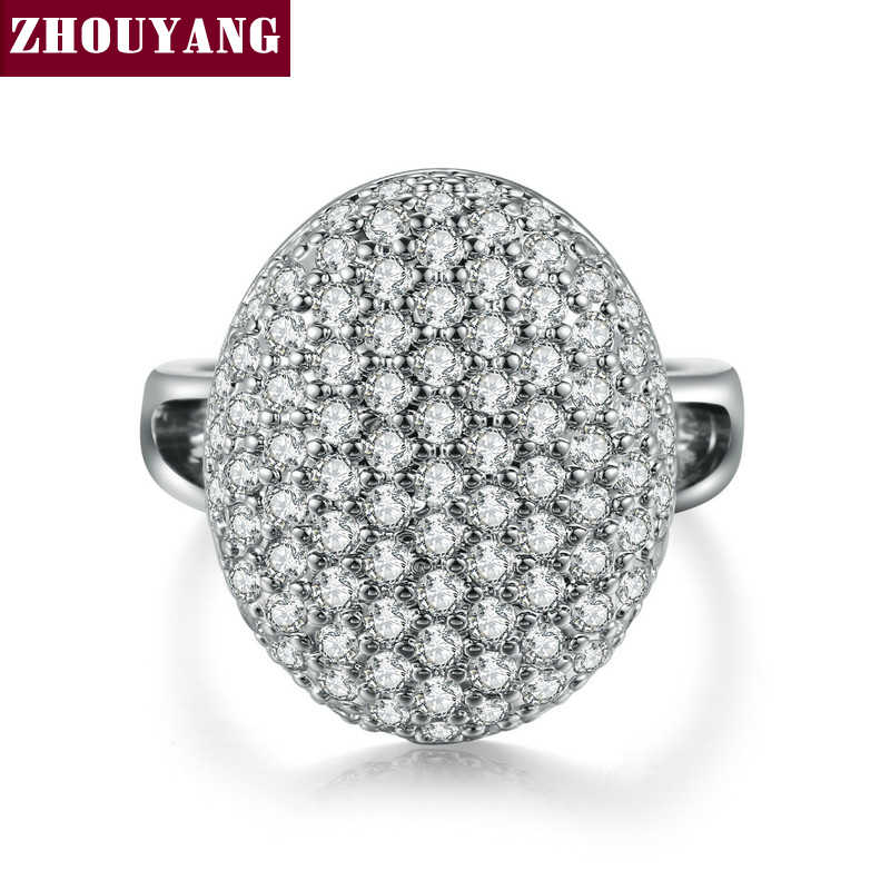 Silver Color Luxury Bijoux Fashion Cocktail Party Ring Cubic Zirconia Inlay Jewelry For Women As Chirstmas Gift ZYR535