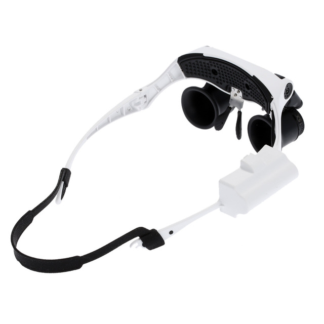 4 lenses Headband Binoculars LED Magnifying Glass 2 LED Magnifier Glasses Loupe Headlamp Loupe Microscope Jewelry Watch Repair