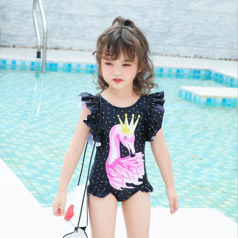 toddler swimwear 2019 summer girls fashion new dots sw print ruffles one pcs bath suits kids swim wear for girls kids clothing girl