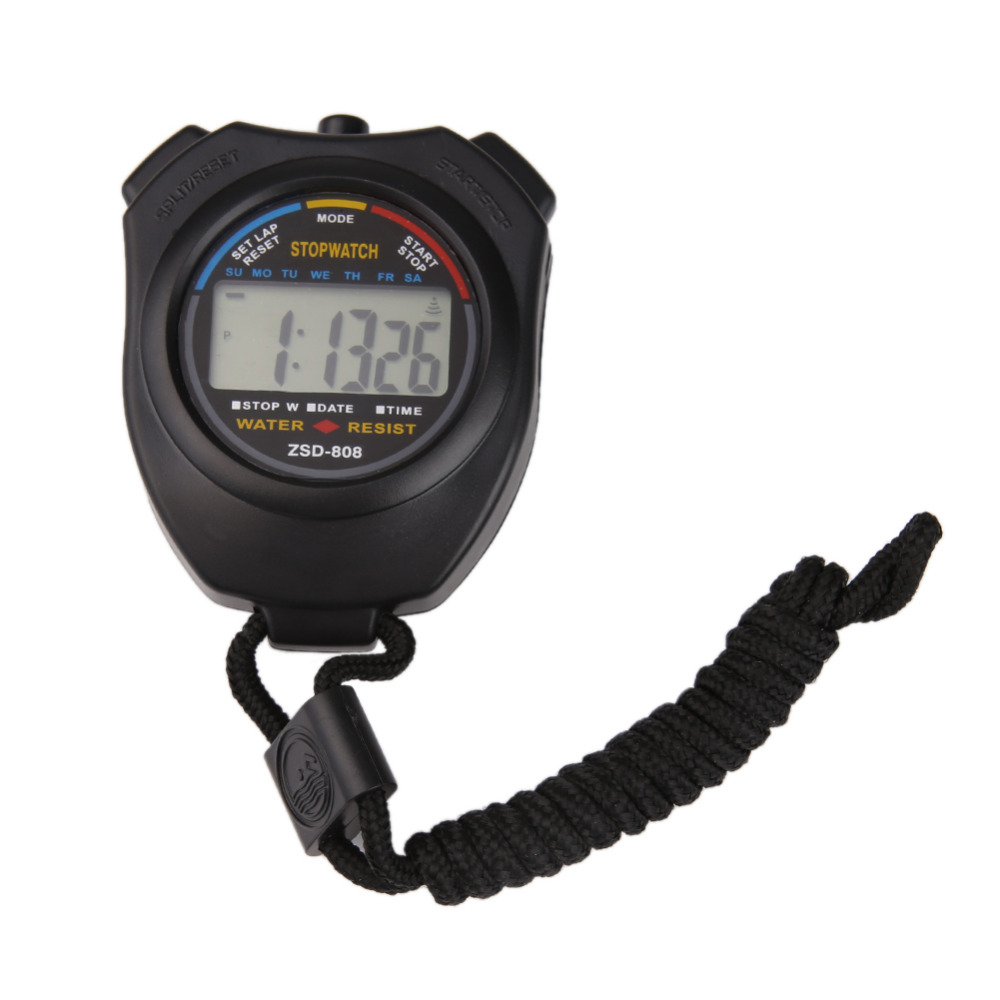 Quente handheld esportes cronômetro temporizador profissional digital lcd esportes cronômetro cronógrafo contador temporizadores com alça