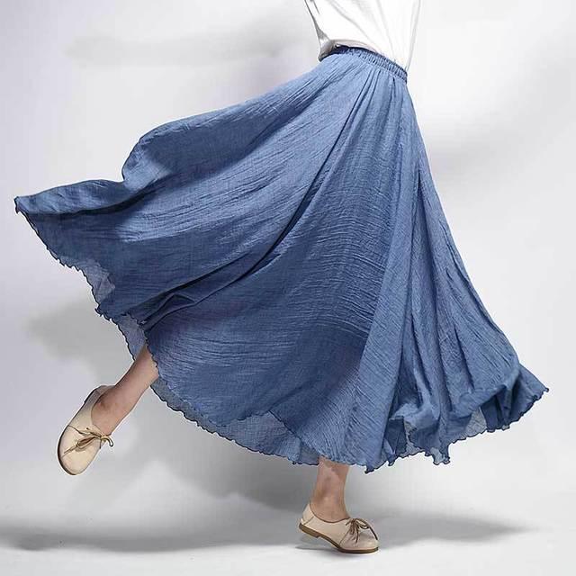 a16e244c5 kobykoyi 20 Color Women Linen Cotton Long Skirts Elastic Waist Pleated Maxi  Skirt Beach Boho Vintage Summer Skirts Faldas Saias-in Skirts from Women's  ...