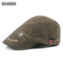 SILOQIN 2019 New Style Men's Hat 100% Cotton Berets With Embroidery British Vintage Visor Hats For Men Adjustable Size Dad Cap siloqin 2019 new style men s cap european style simple plaid vintage berets for adult men british trend retro male bone dad hats