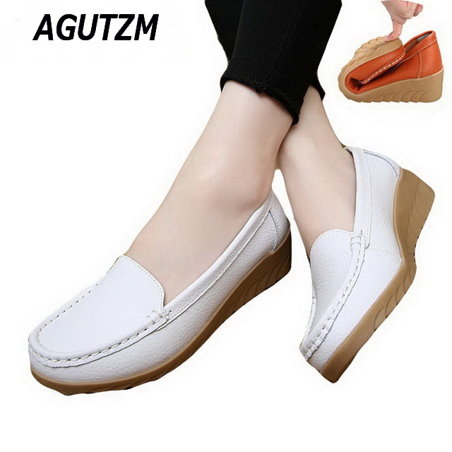 AGUTZM Spring Casual Large Size Leather Flat Shoe Mom Shoes Nurse Shoes White Non-Slip Work Comfortable Pregnant Women Shoes genuine leather four seasons shoes comfortable non slip flats women shoes large size 41 43 mom elderly shoes obuv zapatos mujer