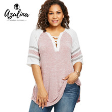 AZULINA Plus Size Lace Up Side Split Marled T-Shirt Casual V Neck Half Sleeve Contrast Striped Panel T Shirt Women Clothing 5XL