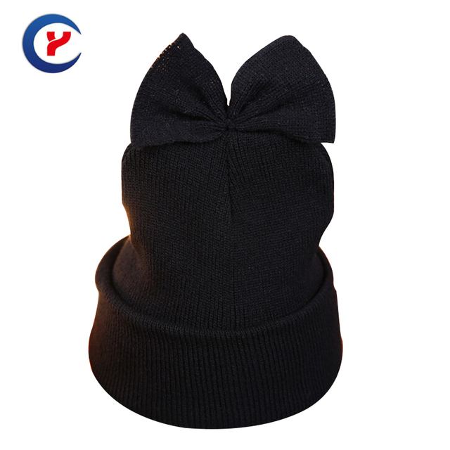 2017 New arrival Fashion Women Knitted Hat Casual Winter Bow knot hat Keep Warm Thick stitch Outdoor Leisure Cap #161102_x86