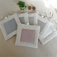 Concise Style Linen Dining Chair Cushion Home Decor Office School Outdoor Car Seat Cushion Square Striped