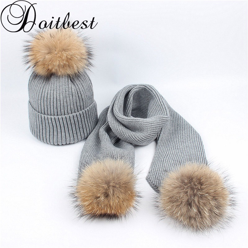 Doitbest Real Racoon Fur Winter Hat For Women Girls Pompom Hats Beanies Knitted Womens Pom Pom Scarf Hat Set Parent-child Beanie
