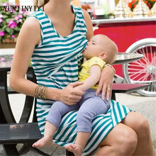 Pregnant women summer sleeveless striped dress breastfeeding and breastfeeding women's dresses women's shirts maternity dress(China)