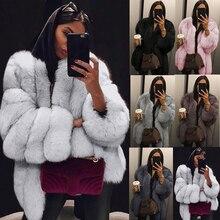 UPPIN шуба натуральный мех S-4XL зима роскошный искусственный мех лисы пальто тонкий длинный розовый искусственная Меховая куртка Для женщин Искусственный мех пальто шуба из искусственного меха дубленка шуба мех